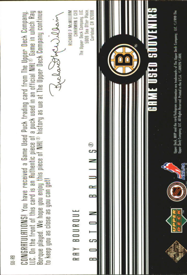 1998-99 Upper Deck MVP Game Souvenirs #RB Ray Bourque back image