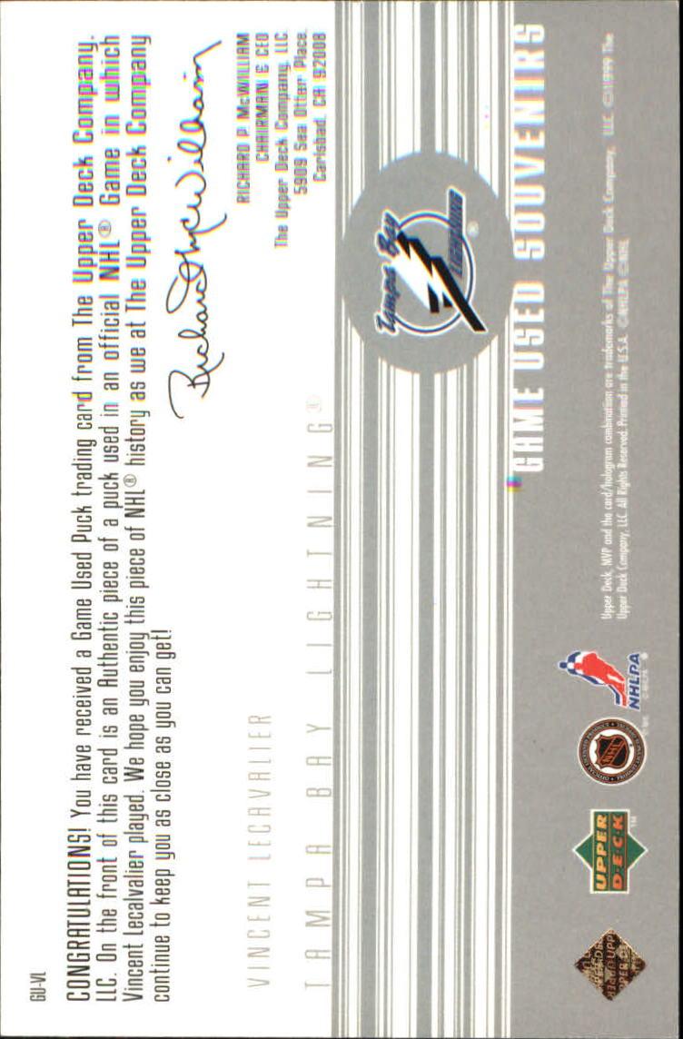 1998-99 Upper Deck MVP Game Souvenirs #VL Vincent Lecavalier back image