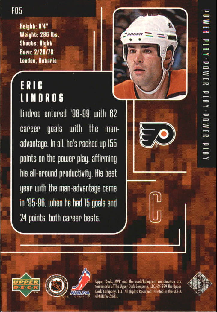 1998-99 Upper Deck MVP Special Forces #F5 Eric Lindros back image