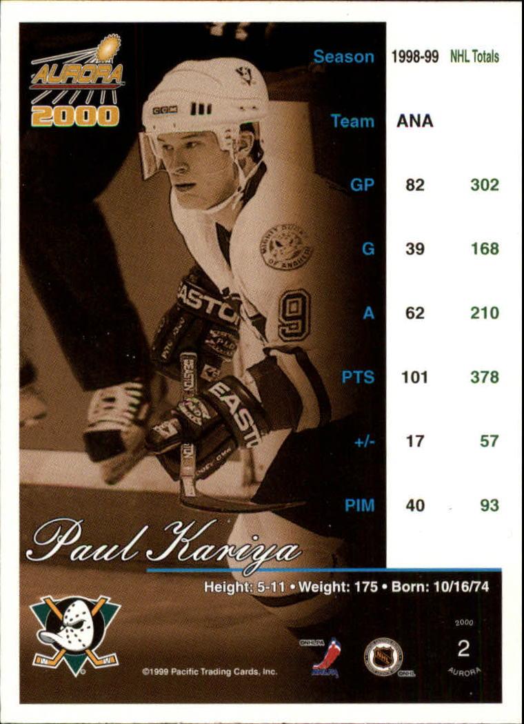 1999-00 Aurora #2 Paul Kariya back image