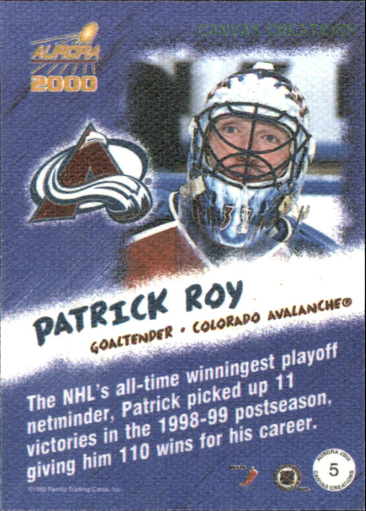 1999-00 Aurora Canvas Creations #5 Patrick Roy back image