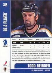 1999-00 BAP Memorabilia #313 Todd Reirden RC back image