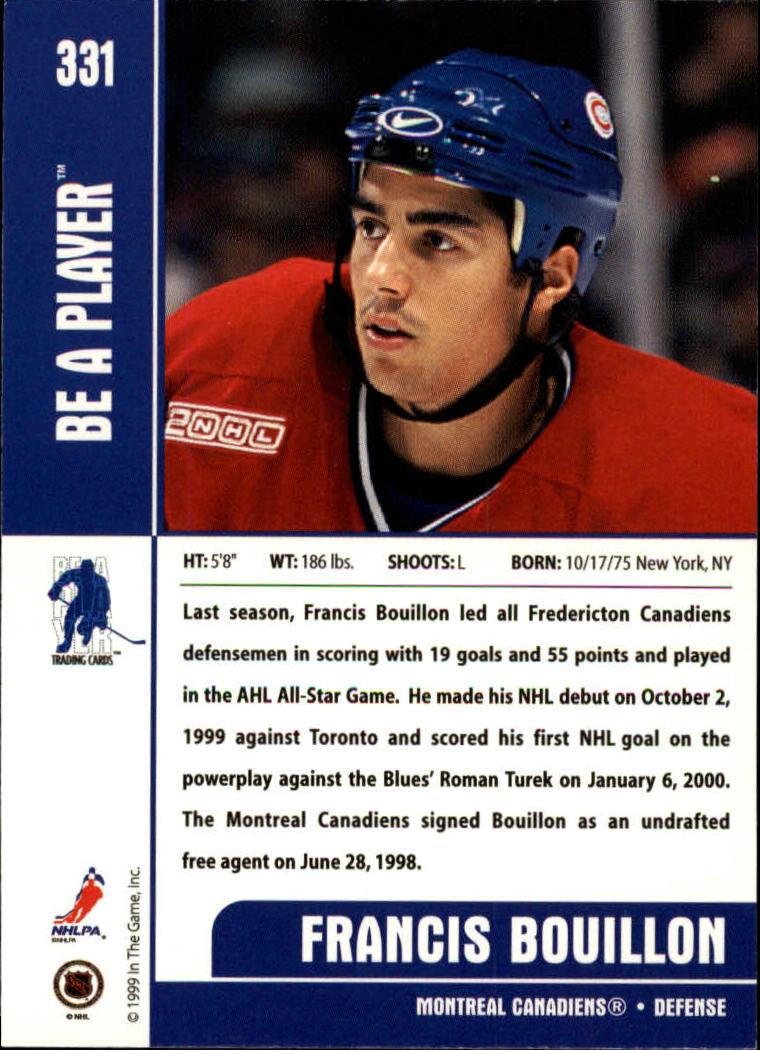 1999-00 BAP Memorabilia #331 Francis Bouillon RC back image