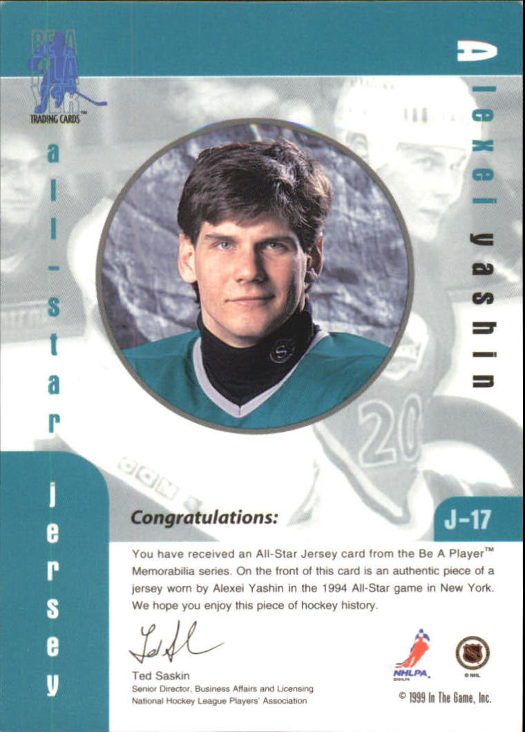 1999-00 BAP Memorabilia Jersey #J17 Alexei Yashin back image