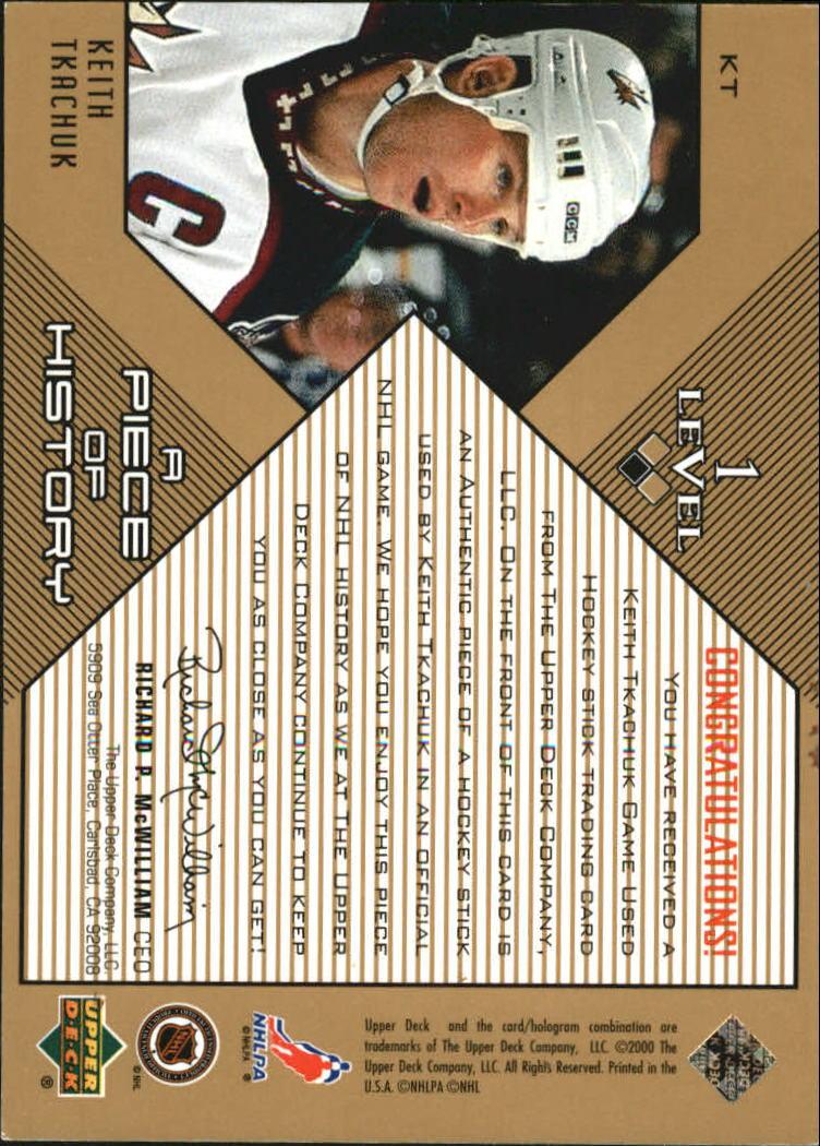 1999-00 Black Diamond A Piece of History #KT Keith Tkachuk back image