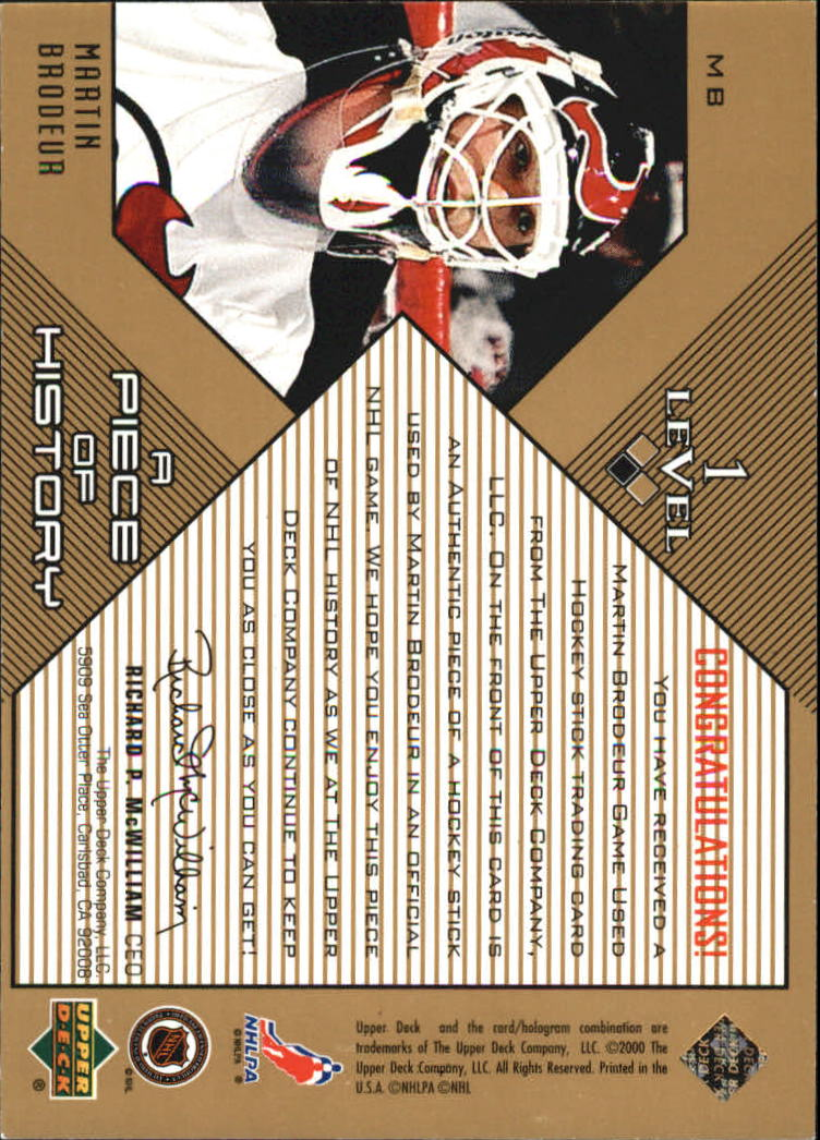 1999-00 Black Diamond A Piece of History #MB Martin Brodeur back image