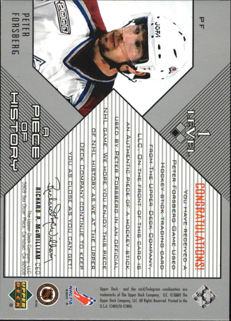 1999-00 Black Diamond A Piece of History #PF Peter Forsberg back image