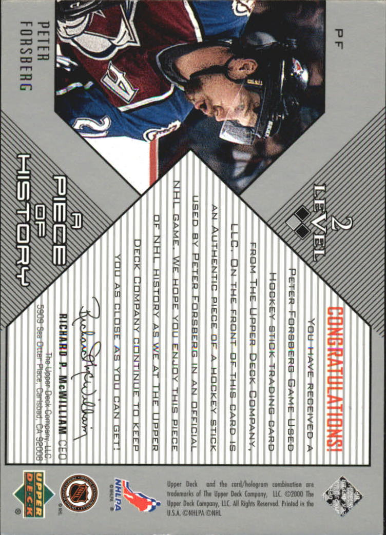 1999-00 Black Diamond A Piece of History Double #PF Peter Forsberg back image