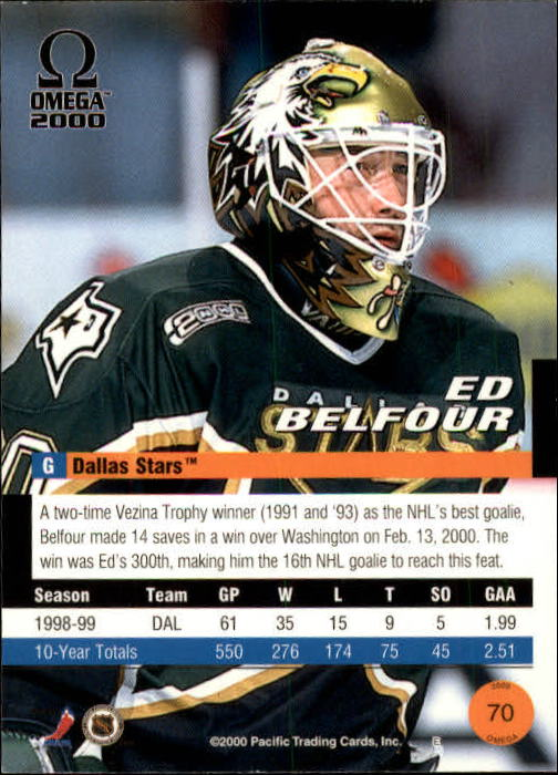 1999-00 Pacific Omega #70 Ed Belfour back image