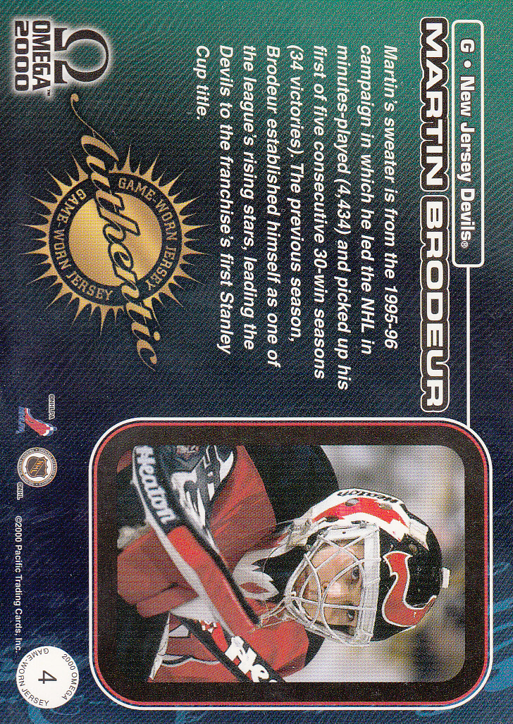 1999-00 Pacific Omega Game-Used Jerseys #4 Martin Brodeur back image