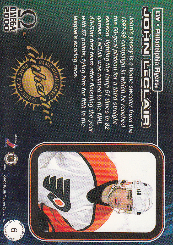 1999-00 Pacific Omega Game-Used Jerseys #6 John LeClair back image