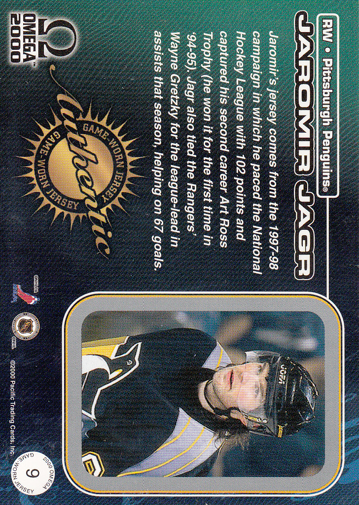 1999-00 Pacific Omega Game-Used Jerseys #9 Jaromir Jagr back image