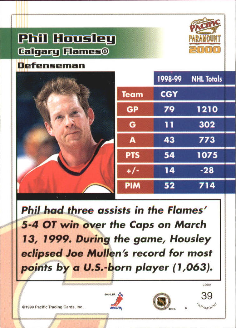 1999-00 Paramount #39 Phil Housley back image