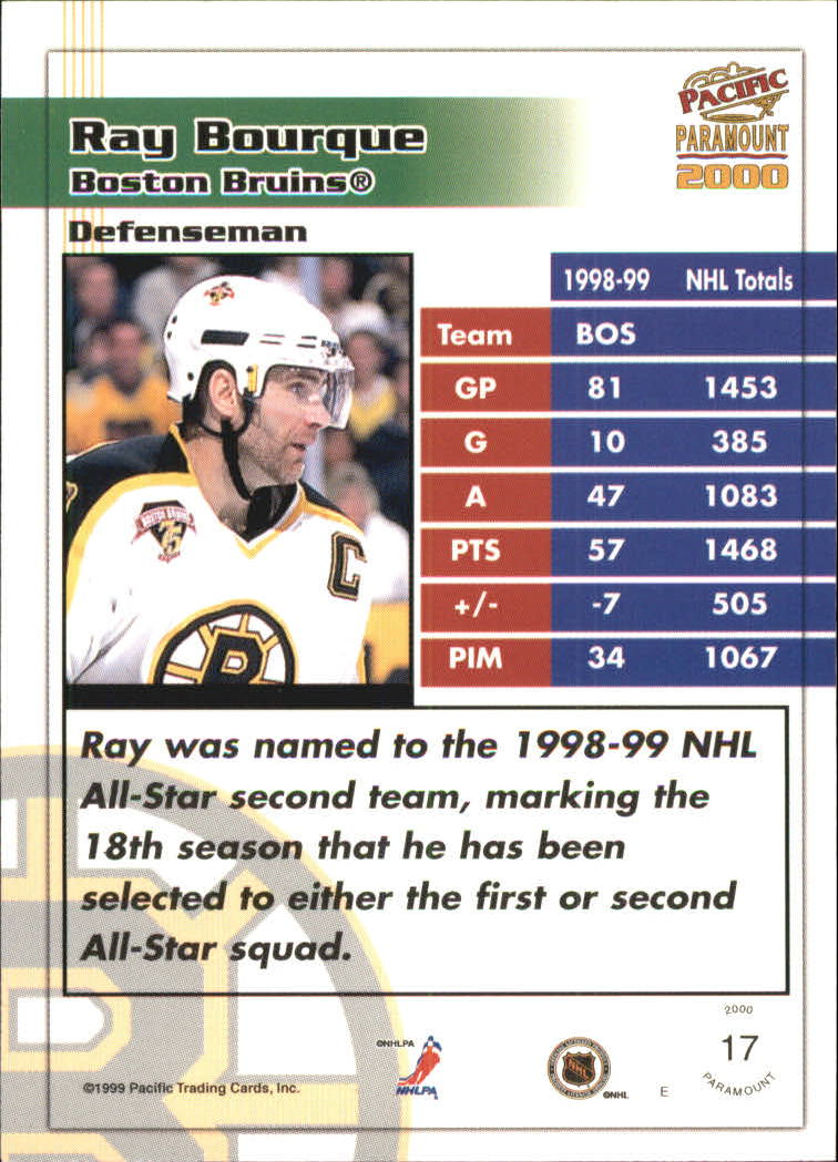 1999-00 Paramount Red #17 Ray Bourque back image