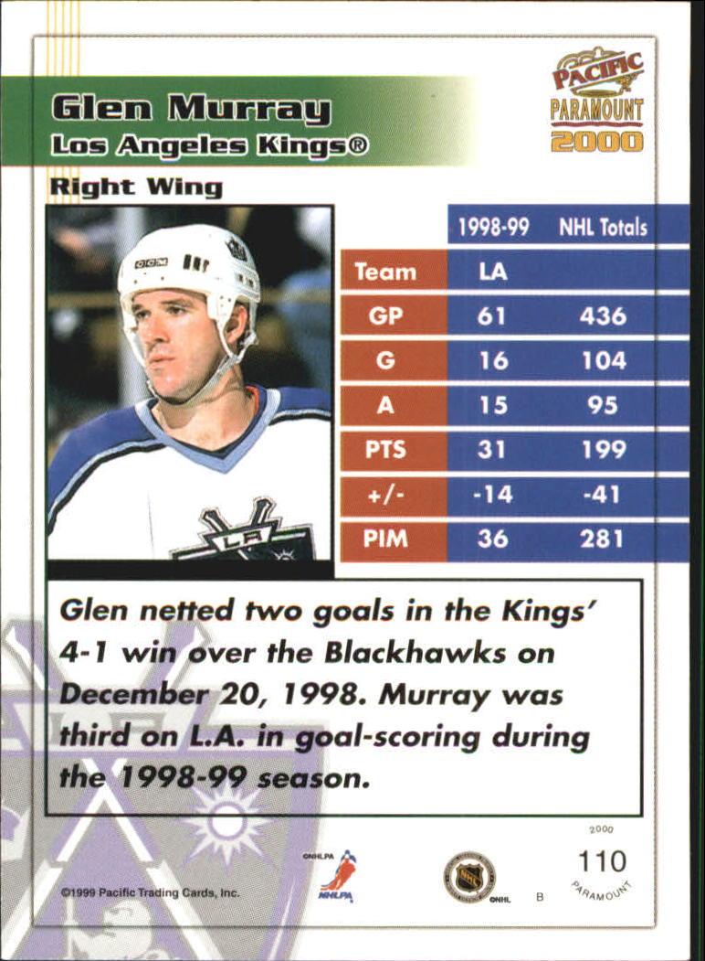 1999-00 Paramount Red #110 Glen Murray back image