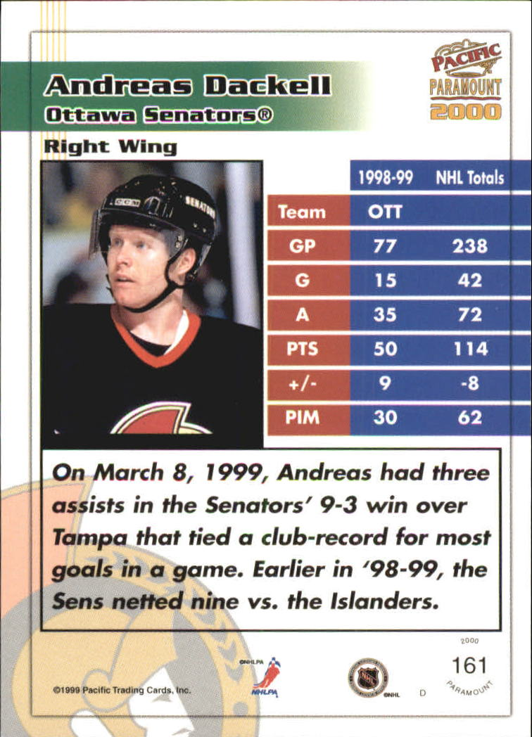 1999-00 Paramount Red #161 Andreas Dackell back image