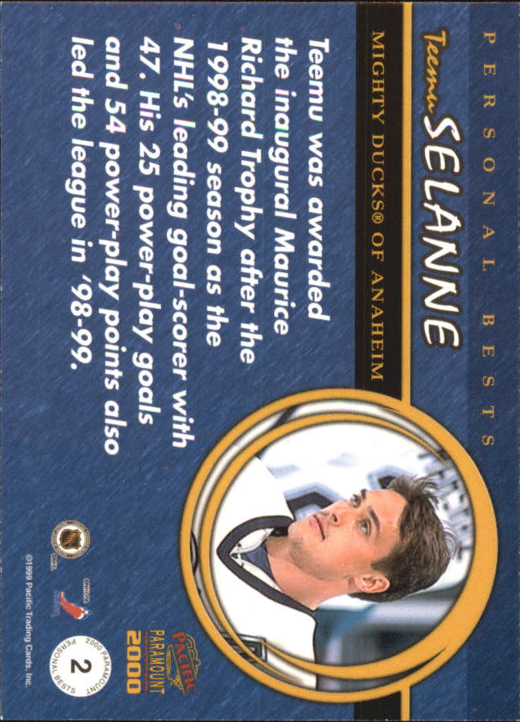 1999-00 Paramount Personal Best #2 Teemu Selanne back image