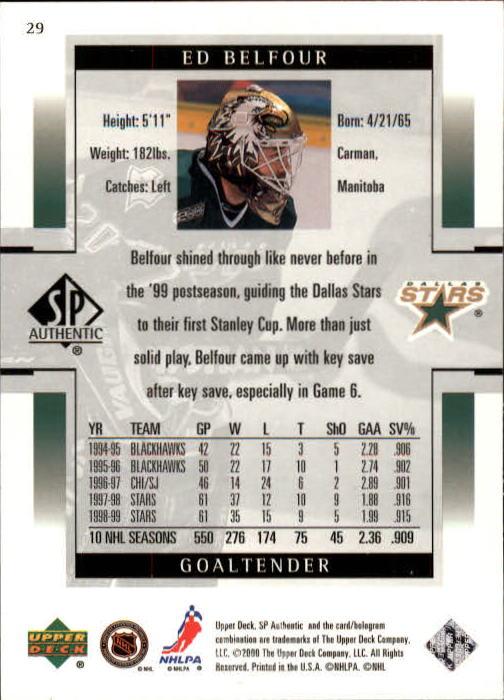 1999-00 SP Authentic #29 Ed Belfour back image