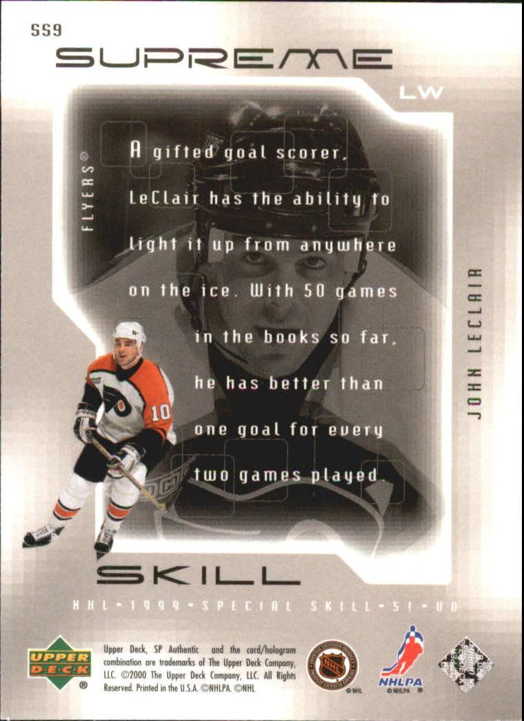 1999-00 SP Authentic Supreme Skill #SS9 John LeClair back image