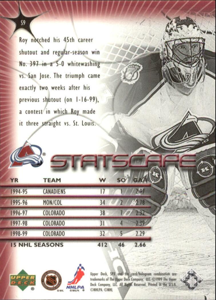 1999-00 SPx Starscape #S9 Patrick Roy back image