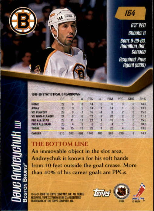 1999-00 Stadium Club #164 Dave Andreychuk back image