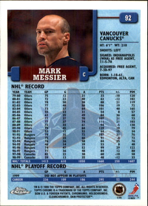 1999-00 Topps #92 Mark Messier back image