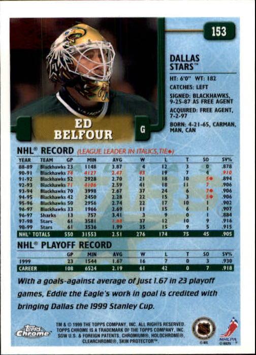 1999-00 Topps #153 Ed Belfour back image