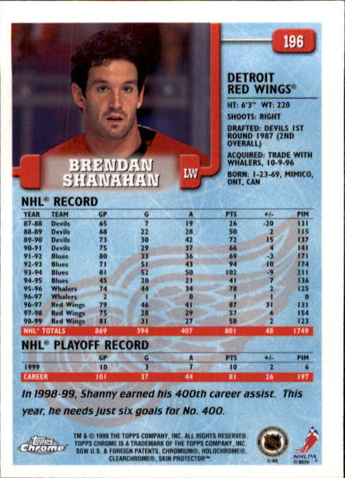 1999-00 Topps Chrome #196 Brendan Shanahan back image
