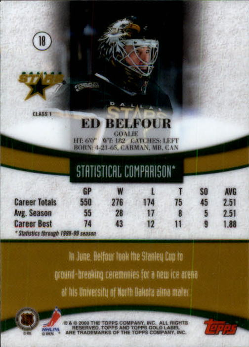 1999-00 Topps Gold Label Class 1 #18 Ed Belfour back image