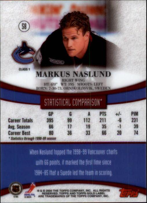 1999-00 Topps Gold Label Class 1 #58 Markus Naslund back image