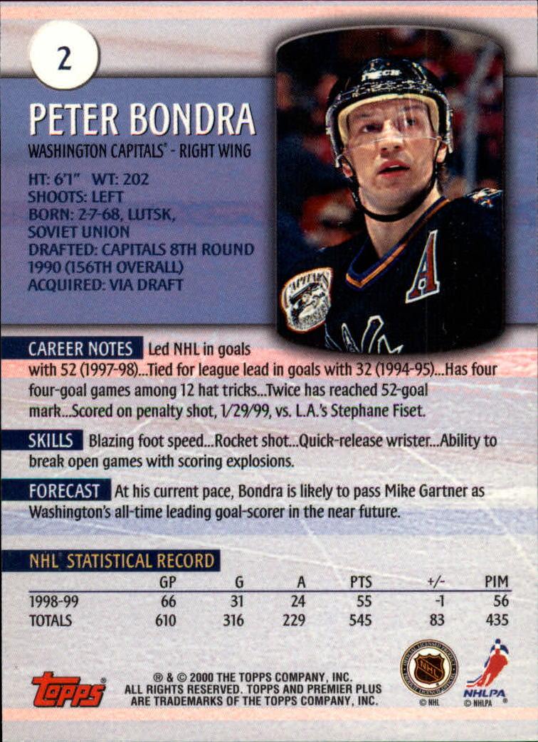 1999-00 Topps Premier Plus #2 Peter Bondra back image