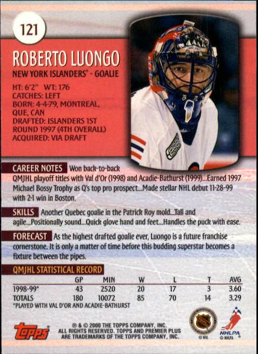 1999-00 Topps Premier Plus #121 Roberto Luongo back image