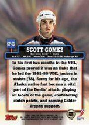 1999-00 Topps Premier Plus Game Pieces #GPSG Scott Gomez J back image