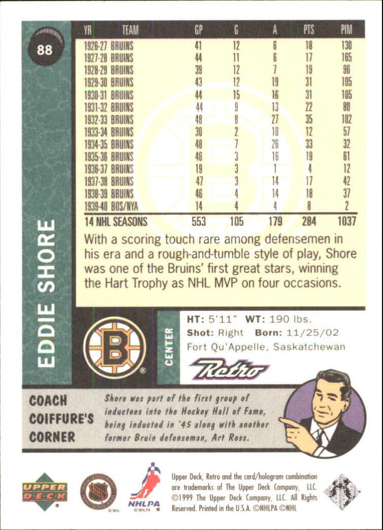 1999-00 Upper Deck Retro #88 Eddie Shore back image