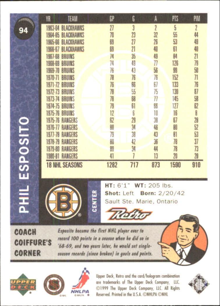 1999-00 Upper Deck Retro #94 Phil Esposito back image