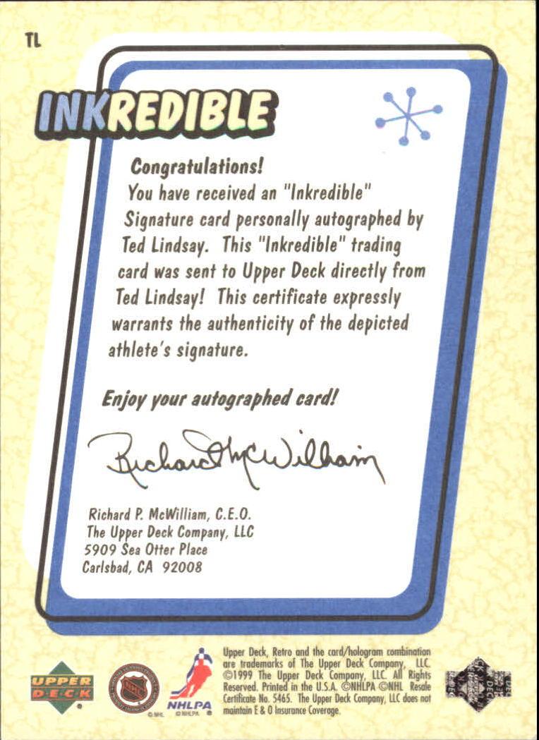 1999-00 Upper Deck Retro Inkredible #TL Ted Lindsay back image