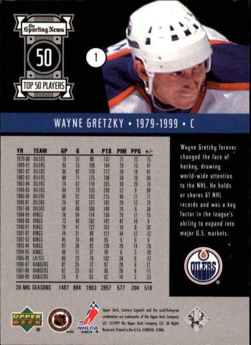 1999-00 Upper Deck Century Legends #1 Wayne Gretzky back image