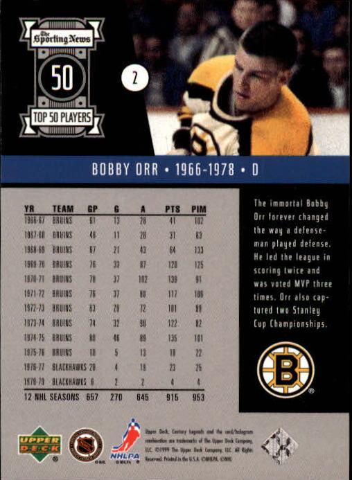 1999-00 Upper Deck Century Legends #2 Bobby Orr back image