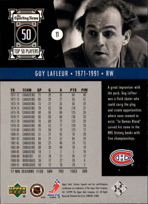 1999-00 Upper Deck Century Legends #11 Guy Lafleur back image