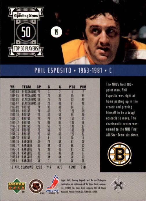 1999-00 Upper Deck Century Legends #19 Phil Esposito back image
