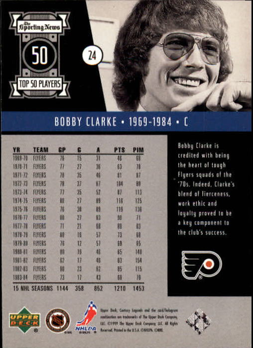 1999-00 Upper Deck Century Legends #24 Bobby Clarke back image