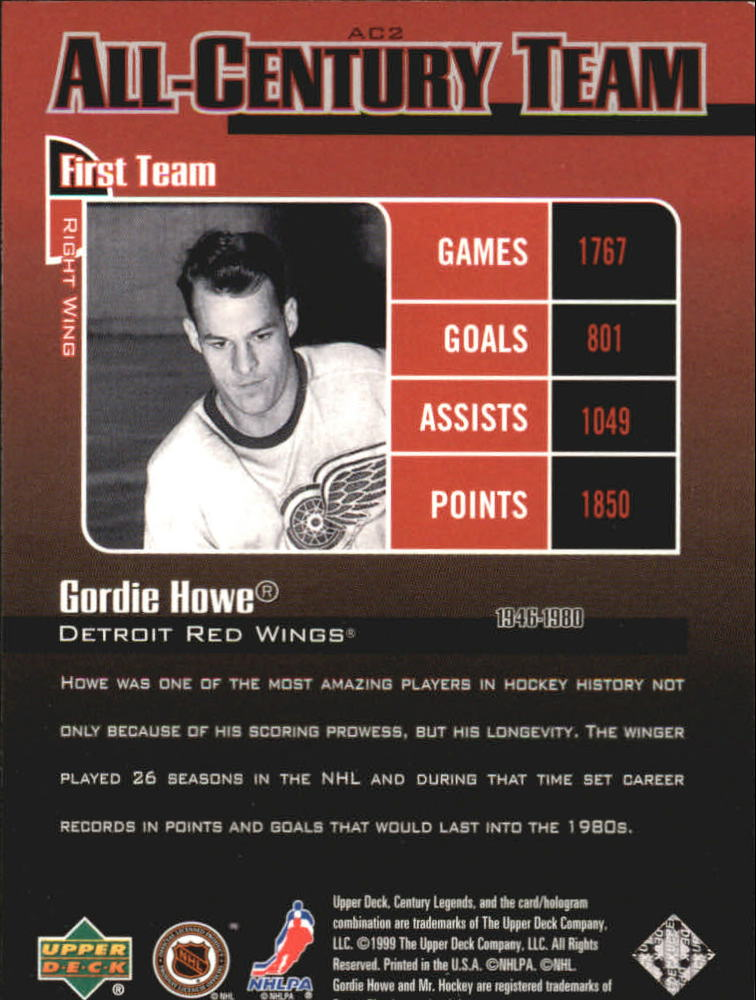 1999-00 Upper Deck Century Legends All Century Team #AC2 Gordie Howe back image
