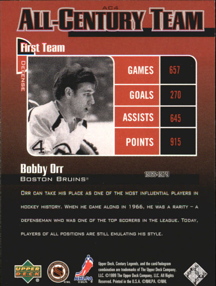 1999-00 Upper Deck Century Legends All Century Team #AC4 Bobby Orr back image