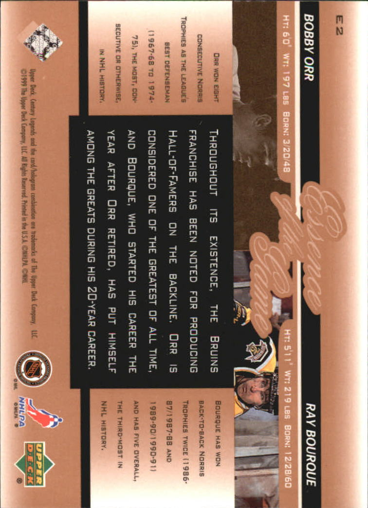 1999-00 Upper Deck Century Legends Essence of the Game #E2 Bobby Orr/Ray Bourque back image