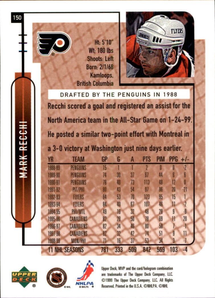 1999-00 Upper Deck MVP #150 Mark Recchi back image