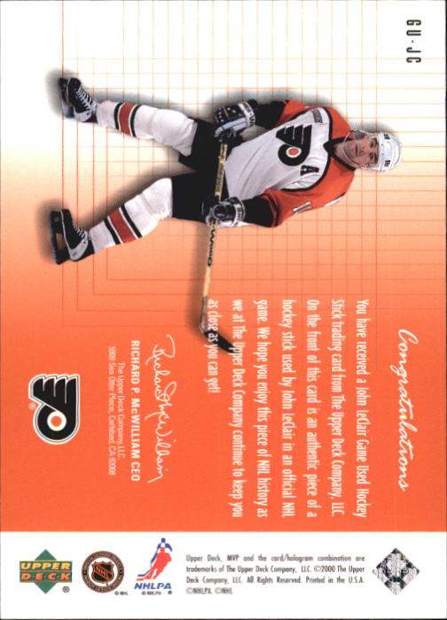 1999-00 Upper Deck MVP SC Edition Game-Used Souvenirs #GUJC John LeClair back image