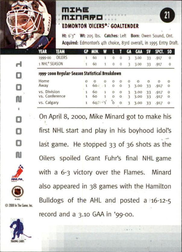 2000-01 BAP Memorabilia #21 Mike Minard RC back image