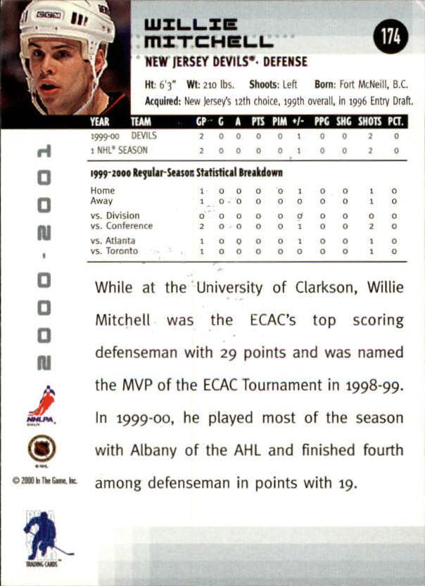 2000-01 BAP Memorabilia #174 Willie Mitchell RC back image