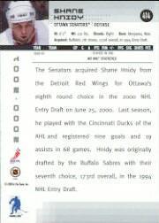 2000-01 BAP Memorabilia #414 Shane Hnidy RC back image