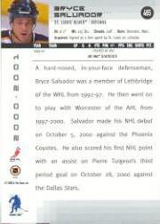 2000-01 BAP Memorabilia #465 Bryce Salvador RC back image